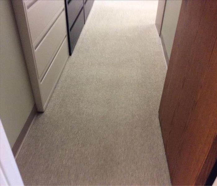 After drying and carpet cleaning of commercial apartment building
