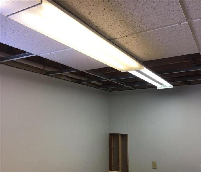 Storm pipe freeze/break in ceiling removed tiles
