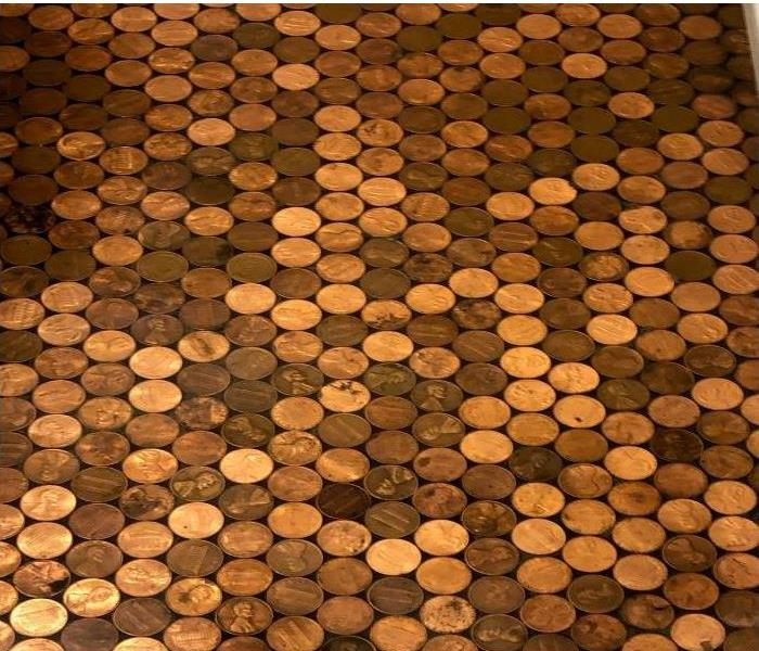 A floor made entirely of pennies